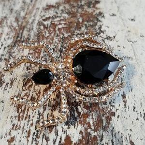 Jewelry - Black Widow Rhinestone Brooch